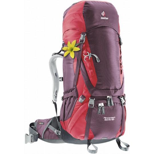 Sac à dos femme Aircontact 60+10 SL aubergine-rouge 2016 Deuter