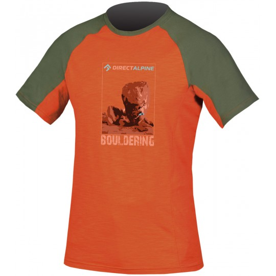 Tee-shirt escalade homme ORCO Tee orange-vert kaki DirectAlpine
