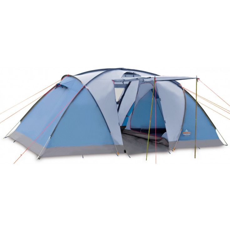 Tente de camping base camp 4p bleue pinguin outdoor for Toile de tente 4 chambres
