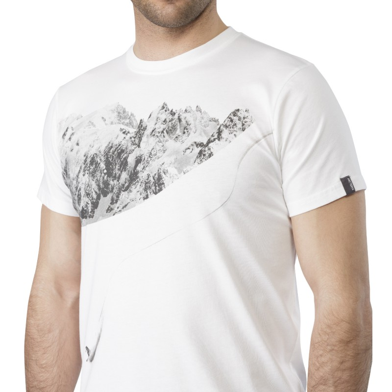 tee shirt coton bio homme journey down blanc arcteryx montania sport. Black Bedroom Furniture Sets. Home Design Ideas