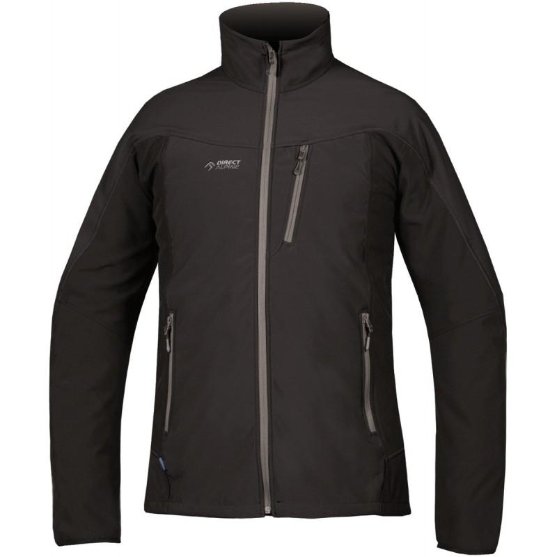 Veste softshell homme glider 6 0 noir gris directalpine for Veste noir interieur ecossais