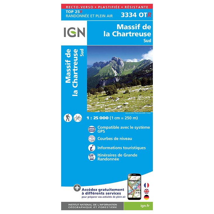 Carte TOP 25 IGN 3334 OT CHARTREUSE SUD 2017