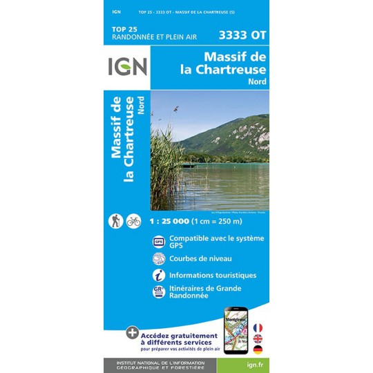 Carte TOP 25 IGN 3333 OT CHARTREUSE NORD
