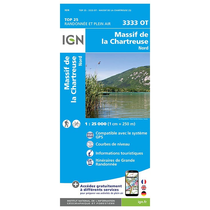Carte TOP 25 IGN 3333 OT CHARTREUSE NORD 2017