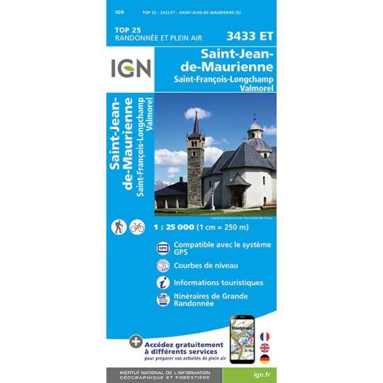 Carte TOP 25 IGN 3433 ET ST JEAN DE MAURIENNE-VALMOREL