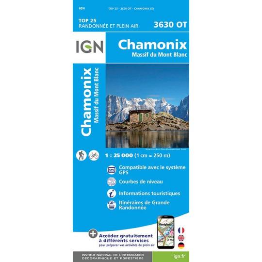 Carte TOP 25 IGN 3630 OT CHAMONIX - MONT BLANC