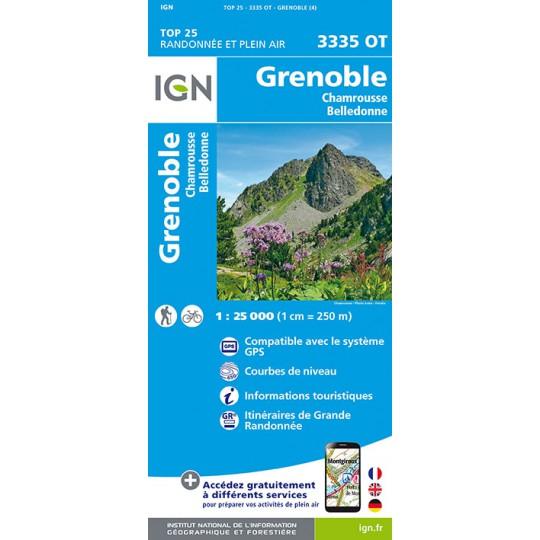 Carte TOP 25 IGN 3335 OT GRENOBLE
