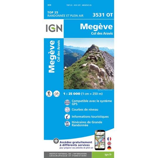 Carte TOP 25 IGN 3531 OT MEGEVE - ARAVIS