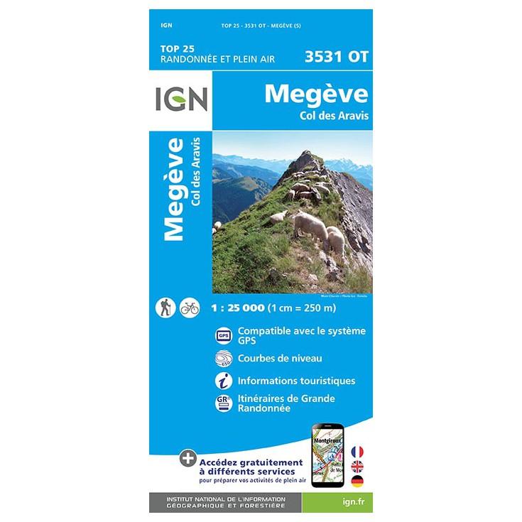 Carte TOP 25 IGN 3531 OT MEGEVE-ARAVIS 2017