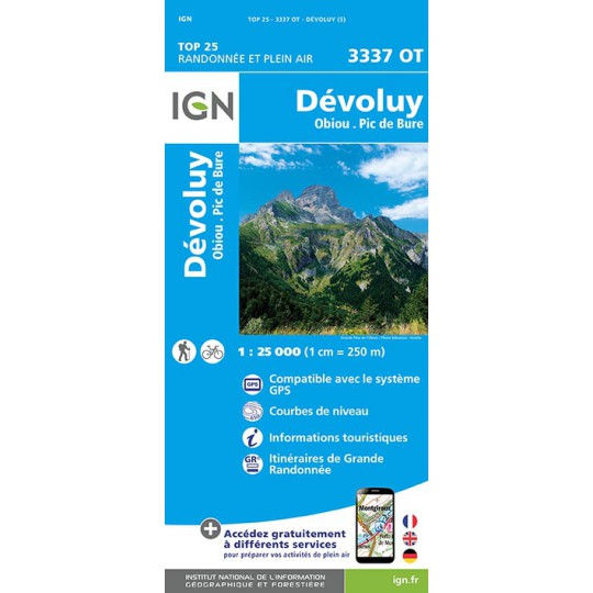 Carte TOP 25 IGN 3337 OT DEVOLUY