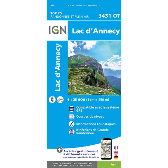 Carte TOP 25 IGN 3431 OT LAC ANNECY