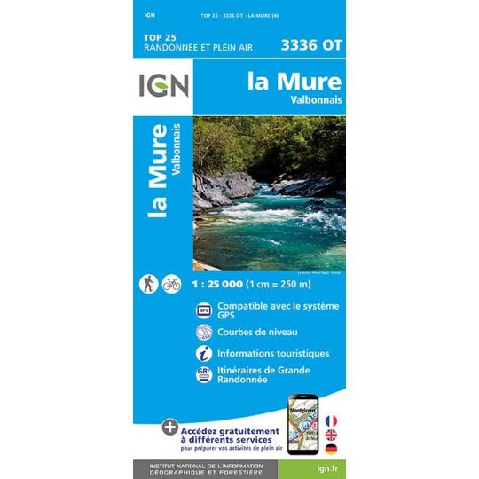Carte TOP 25 IGN 3336 OT LA MURE