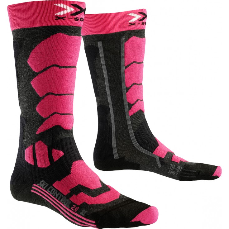 494722220f5 Chaussettes femme SKI CONTROL 2.0 WOMEN fushia-gris X-Socks ...