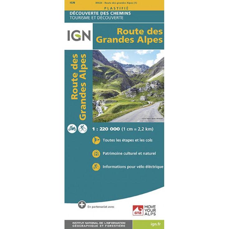 Carte IGN plastifiée de la Route des Grandes Alpes 1/220000 GTA