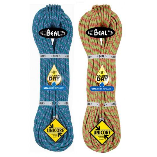 Corde 2x60m Ice Line 8.1 Unicore GoldenDry jaune-bleu Beal