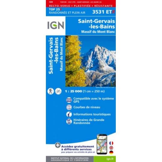 Carte Résistante Plastifiée TOP 25 IGN 3531 ETR SAINT GERVAIS LES BAINS-MONT BLANC 2017