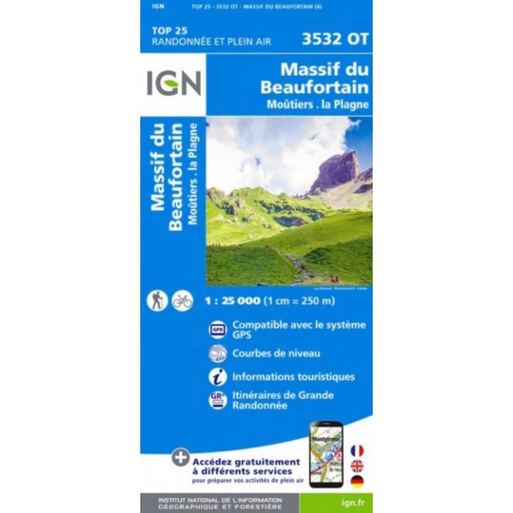 Carte TOP 25 IGN 3532 OT BEAUFORTAIN-MOUTIERS-LA PLAGNE 2017