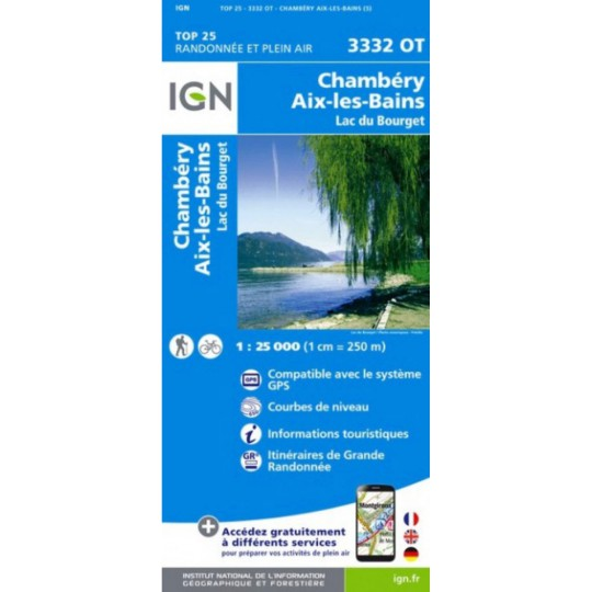 Carte TOP 25 IGN 3332 OT CHAMBERY-AIX LES BAINS- LAC DU BOURGET 2017