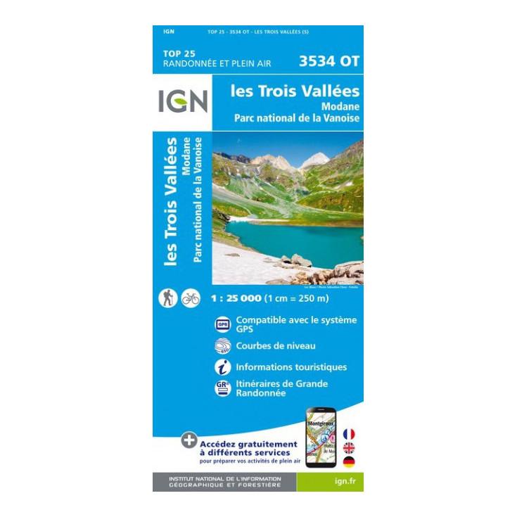 Carte TOP 25 IGN 3534 OT MODANE-3 VALLEES-VANOISE
