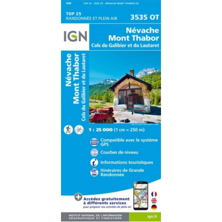 Carte TOP 25 IGN 3535 OT NEVACHE-MONT THABOR-GALIBIER