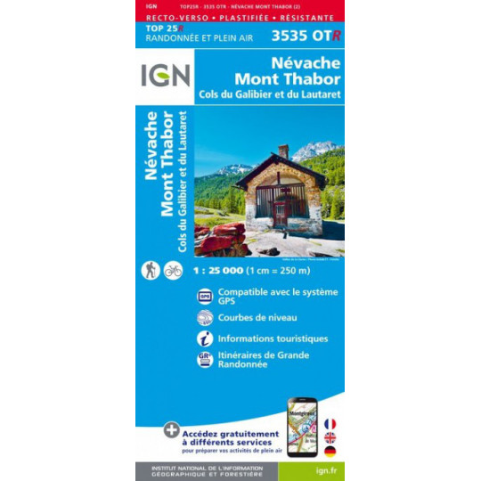 Carte Résistante Plastifiée TOP 25 IGN 3535 OTR NEVACHE - THABOR