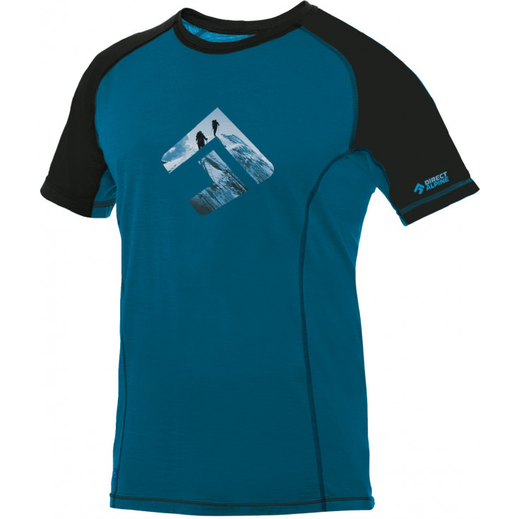 Tee-shirt laine Mérino homme FURRY 1.0 Petrol-Black DirectAlpine