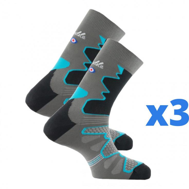 """Lot de 3 paires de chaussettes de randonnée femme """"La Double TREK"""" gris-bleu turquoise Thyo"""