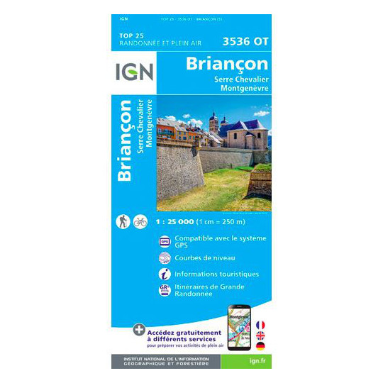 Carte TOP 25 IGN 3536 OT BRIANCON - SERRE CHEVALIER - MONTGENEVRE
