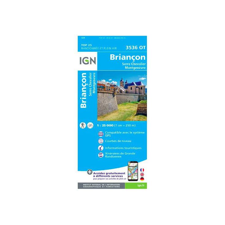 Carte TOP 25 IGN 3536 OT BRIANCON-SERRE CHEVALIER-MONTGENEVRE S9