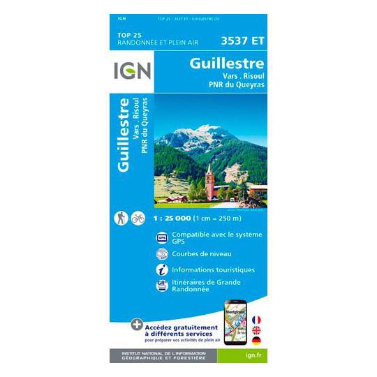 Carte TOP 25 IGN 3537 ET GUILLESTRE - VARS - RISOUL - QUEYRAS