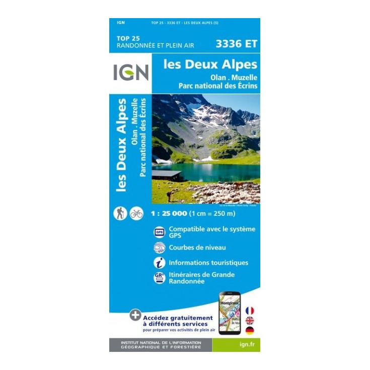 Carte TOP 25 IGN 3336 ET LES 2 ALPES-PARC DES ECRINS