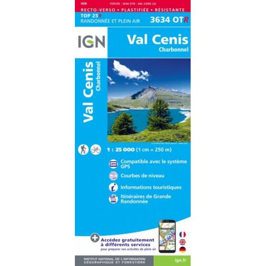 Carte Résistante Plastifiée TOP 25 IGN 3634 OTR VAL CENIS - CHARBONNEL