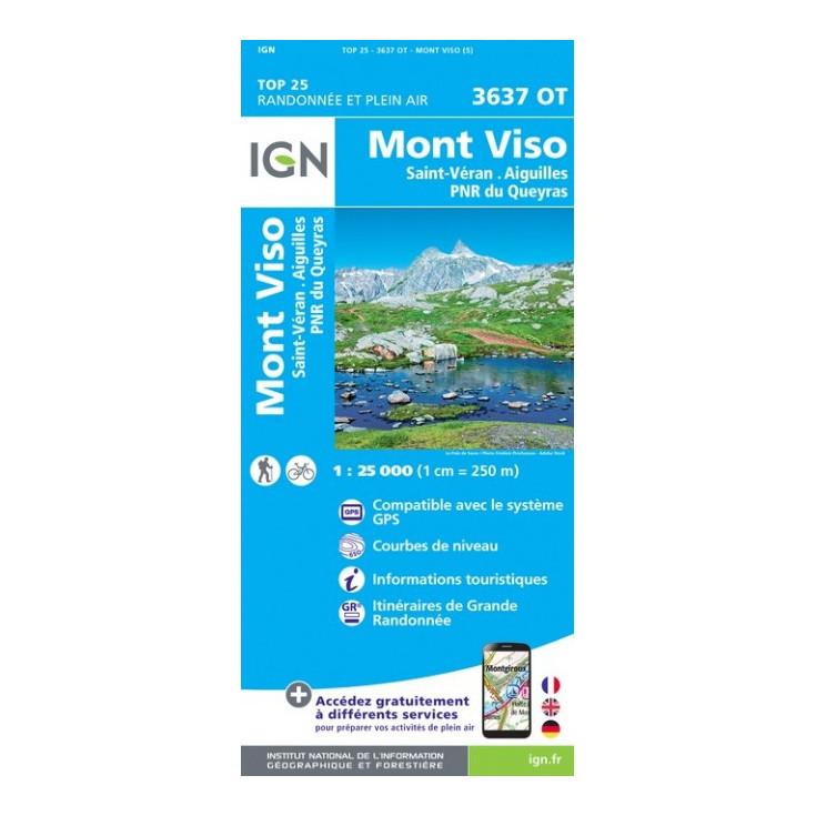Carte Touristique Du Queyras.Carte Top 25 Ign 3637 Ot Mont Viso St Veran Queyras
