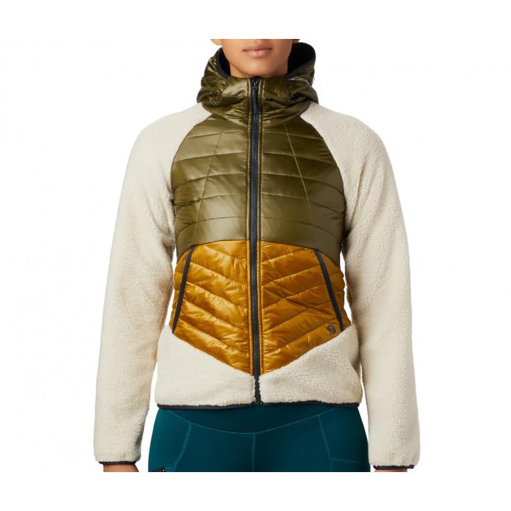 Polaire-Doudoune à capuche femme ALTIUS HYBRID HOODY Dark-Bolt Mountain Hardwear F19-20