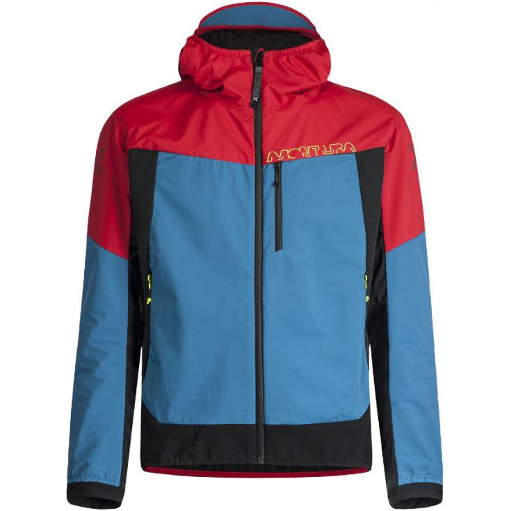 Veste à capuche softshell AIR ACTION HYBRID JACKET rouge-bleu Montura