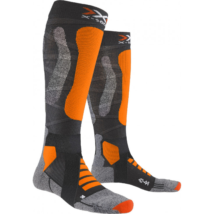 Chaussettes ski de rando SKI TOURING SILVER 4.0 Anthracite-Orange X-Socks