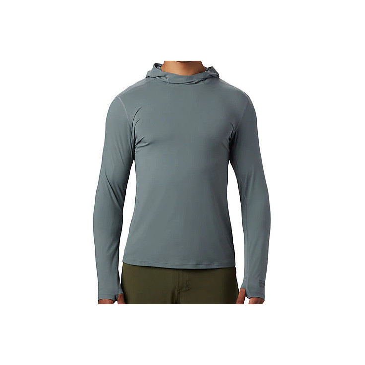 Tee-shirt respirant homme manches longues à capuche CRATER LAKE HOODY light-storm Mountain Hardwear