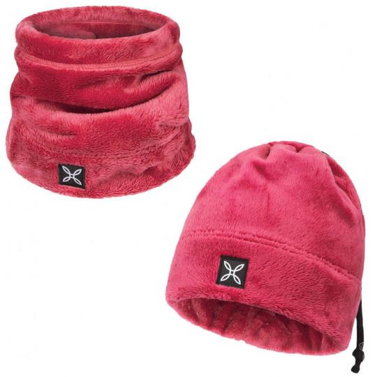 Bonnet tour de cou 2 en 1 COLLAR POLAR CAP rose Montura