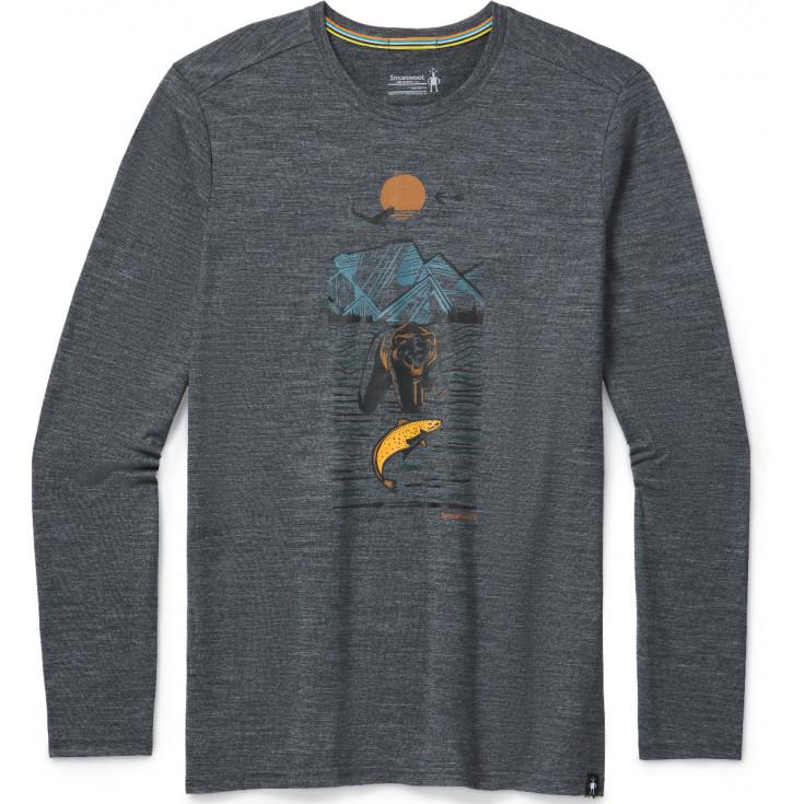 Tee-shirt manches longues homme en laine MERINO 150 ALPINE BEAR gray-heather Smartwool