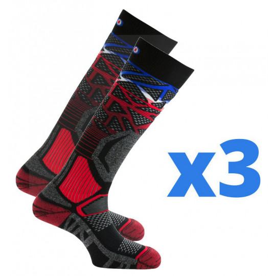 Lot de 3 paires de chaussettes de ski ALVEOL TECH 2 noir-tricolore Thyo