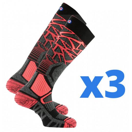 Lot de 3 paires de chaussettes de ski femme ALVEOL TECH 2 noir-orange Thyo