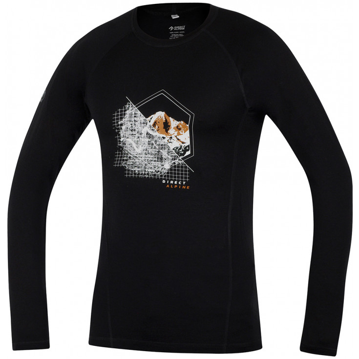 Tee-shirt laine Mérino FURRY LONG TEE MONT-BLANC noir-orange DirectAlpine