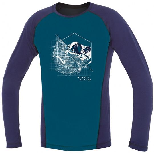Tee-shirt laine Mérino FURRY LONG TEE MONT-BLANC bleu-indigo DirectAlpine