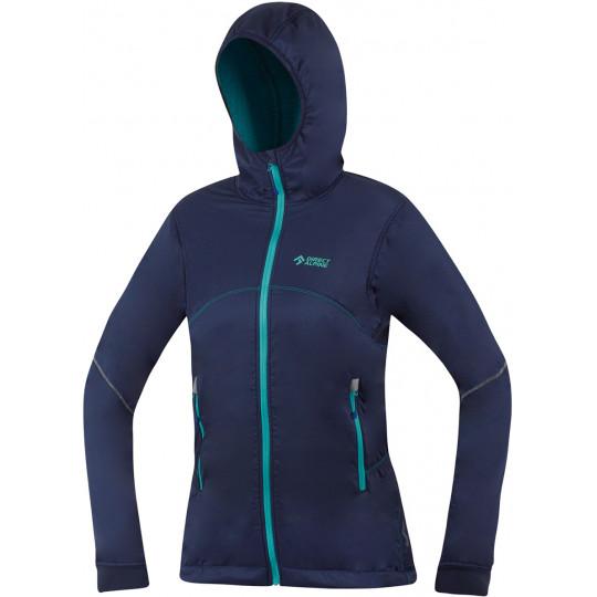 Veste Softshell femme chaude Polartec BORA LADY 1.0 indigo-menthe Directalpine