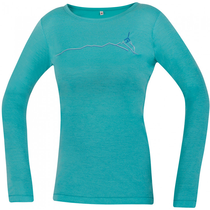 Tee-shirt laine Mérino femme FURRY LONG LADY menthe DirectAlpine
