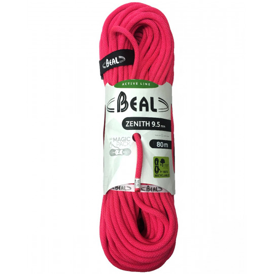 Corde escalade 80m Zenith 9.5mm solid-pink BEAL