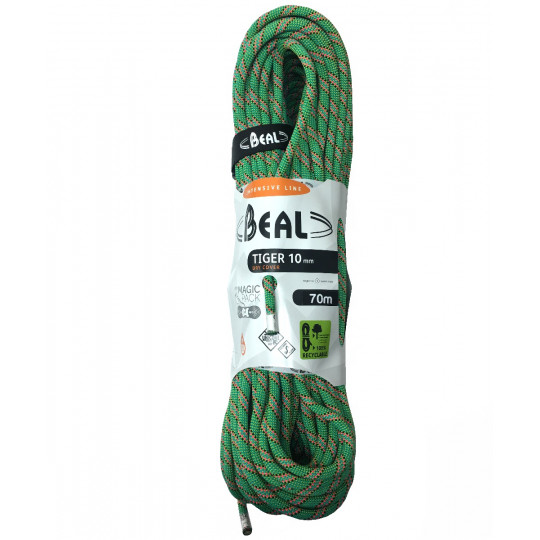 Corde escalade 70m TIGER Drycover Unicore 10mm vert BEAL