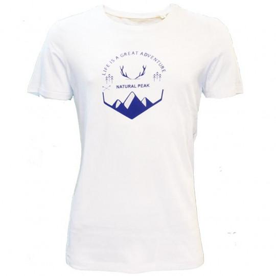 Tee-shirt fibre de bois homme 140 GREAT ADVENTURE blanc-bleu Natural Peak
