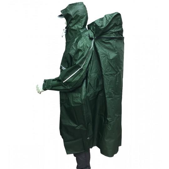 Poncho de randonnée imperméable Rain Stop Front Zip vert armée CAMP