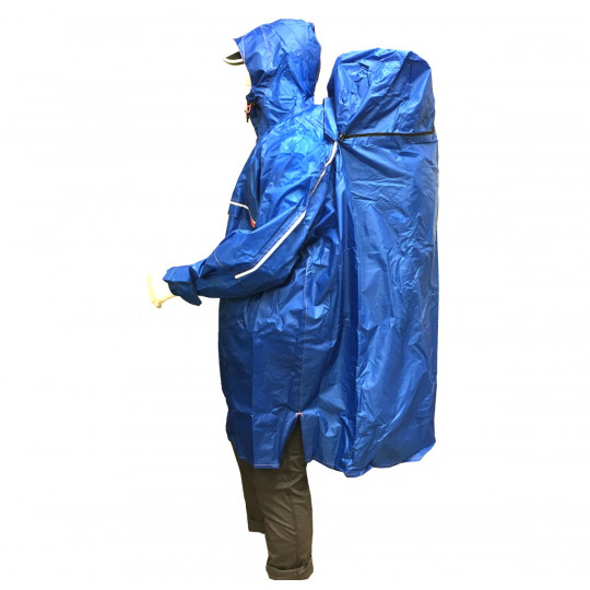 Poncho de randonnée imperméable Rain Stop Front Zip bleu CAMP